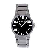 Unlisted by Kenneth Cole® Gunmetal Watch with Black Dial And Large White Numbers