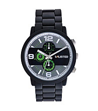 Unlisted by Kenneth Cole® Mens Matte Black Watch with Black Dial And Neon Green Accents
