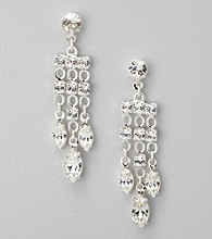 BT-Jeweled Crystal & Rhodium Post Chandelier Earrings