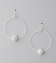 BT-Jeweled Crystal & Rhodium Pave Hoop Earrings