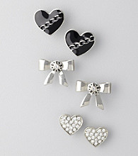 Guess Imitation Rhodium Trio Earring Set