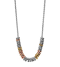 Fossil® Silvertone & Goldtone Rondelle Frontal Necklace