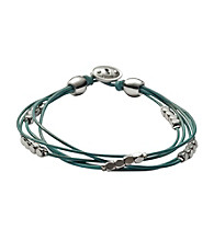 Fossil® Aqua Multi Strand Wrist Wrap with Silvertone Nuggets