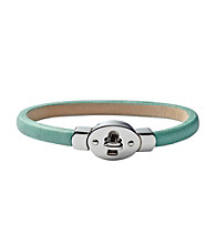 Fossil® Silvertone & Aqua Leather Wrist Wrap
