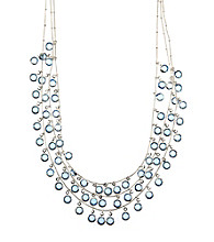 Anne Klein® Silvertone & Blue Shaky Necklace