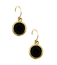 Anne Klein® Goldtone & Black Drop Earrings