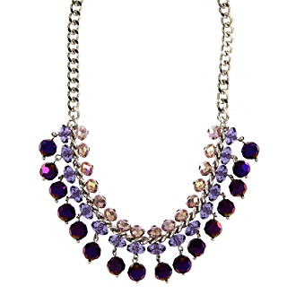 "Kenneth Cole® 16"" Adjustable Silvertone & Purple Beaded Frontal Necklace"