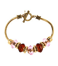 Kenneth Cole® Goldtone & Pink Beaded Slider Bracelet in a Gift Box