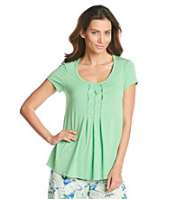 HUE® Pleat Front Knit Top - Poison Green