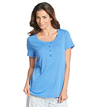 HUE® Sea Blue Knit Henley Top