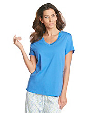 HUE® Sea Blue Classic V-Neck Top