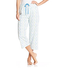 HUE® White Knit Capris - Dot/Stripe Print