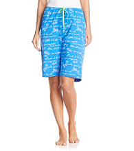HUE® Sea Blue Knit Bermuda Shorts - Blue Artscript Print