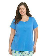 HUE® Sea Blue Plus Size Knit Henley Top