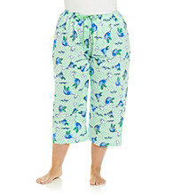 HUE® Summer Green Plus Size Knit Capris - Mojito Green Print