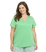 HUE® Plus Size Knit V-Neck Top