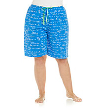 HUE® Sea Blue Plus Size Knit Bermuda Short - Blue Artscript Print