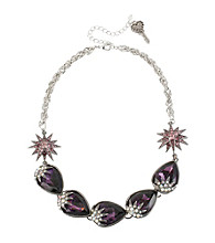 Betsey Johnson® Purple & Silvertone Teardrop Gem Frontal Necklace