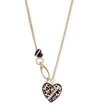 Betsey Johnson® Leopard Heart Pendant Long Necklace