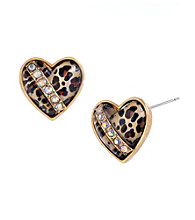 Betsey Johnson® Leopard Heart Stud Earrings
