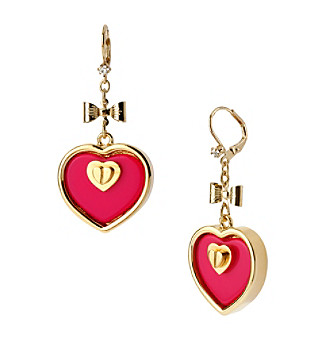 Betsey Johnson® Fuchsia & Goldtone Heart Drop Earrings