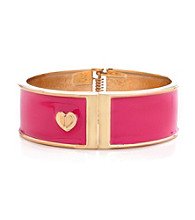 Betsey Johnson® Fuchsia & Goldtone Hinged Bangle Bracelet