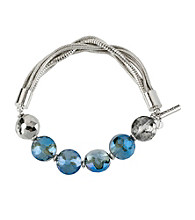 Kenneth Cole® Silvertone & Blue Faceted Bead Multi Chain Half Stretch Bracelet