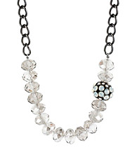 Kenneth Cole® Silvertone Faceted Bead & Fireball Frontal Necklace