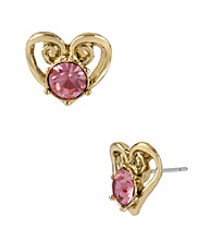 Betsey Johnson® Pink & Goldtone Heart Stud Earrings