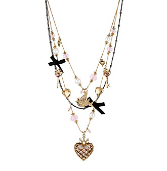 Betsey Johnson® Pink, Goldtone & Silvertone Heart & Bird Illusion Necklace