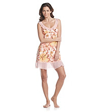 Chanteuse® Coral Bloom Knit Ruffled Chemise - Blooming Floral