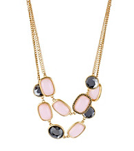 Kenneth Cole® Pink Pave Bead Two Row Goldtone Necklace