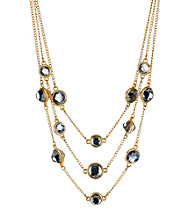 Kenneth Cole® Goldtone/Black Round Faceted Bead Illusion Necklace
