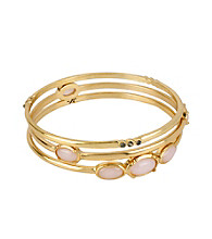 Kenneth Cole® Pink Bead and Goldtone Bangle Bracelet Set