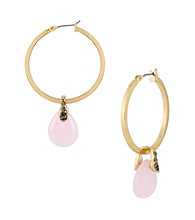 Kenneth Cole® Goldtone Pave and Pink Bead Drop Hoop Earrings