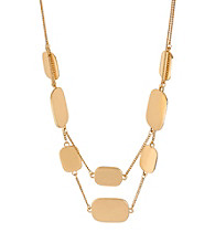 Kenneth Cole® Goldtone Rectangle Disc Two Row Necklace