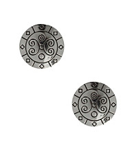 Napier® Light Antique Silvertone Pierced Button Earrings with Scroll Etching