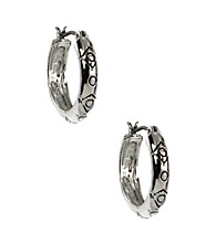 Napier® Light Antique Silvertone Click It Hoop Earrings