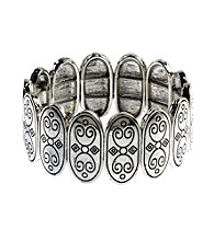 Napier® Light Antique Silvertone Stretch Bracelet with Antique Etching