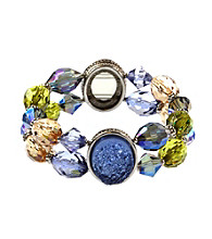 Napier® Silvertone and Multi Colored Blue and Purple Beaded Double Row Stretch Bracelet