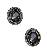 Napier® Light Antique Silver Pierced Button Earrings with Scroll Etching