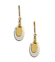 Napier® Two Tone Leverback Drop Earrings