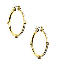 Napier® Two Tone Textured Click It Hoop Earrings