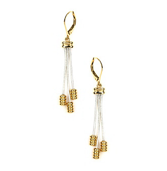 Napier® Two Tone Shaky Leverback Drop Earrings