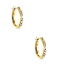 Napier® Goldtone and Crystal Small Click It Hoop Earrings