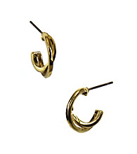 Napier® Goldtone Crossover Hoop Earrings