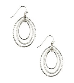 Napier® Silvertone Large Oval Chandelier Pierced Earrings