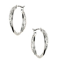 Napier® Silvertone Large Twist Hoop Pierced Earrings