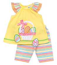 Rare Editions® Baby Girls' Yellow Striped 2-pc. Easter Egg Leggings Set
