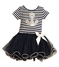 Bonnie Jean® Baby Girls' Navy/White Anchor Tutu Dress